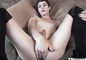 Tgirl babe tugging and stroking her dick