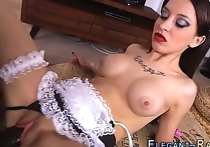 Glam maid sucks on bbc