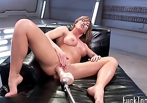 Solo MILF stretched with dildo machine