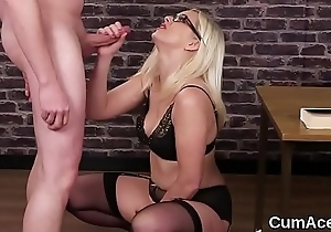 Nasty peach gets cumshot on her face gulping all the love juice