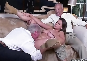 Old grand-dad creampie young Ivy impresses with her giant funbags and