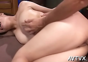 Staggering asian cowgirl riding