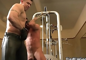 Sadomasochism fitness sub blindfolded for cocksucking