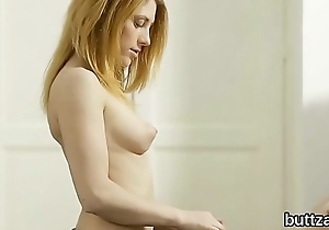 Stunning slender cutie gets her mouth-watering cunt and little anal penetrated