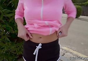 Fit teen flashes nuisance just about public for money