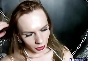 Russian trans beauty tugging her cock
