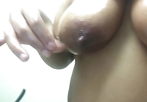horny milf plays &amp_ pangs leaking tits