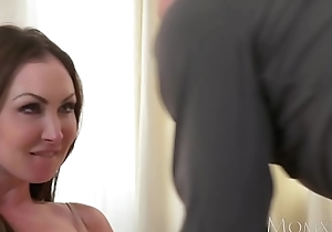 MOM Heavy tits brunette Aussie Milf takes big cock before squirting orgasm