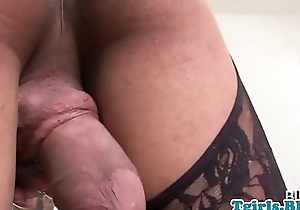 Ebony tranny in stockings masturbating highly