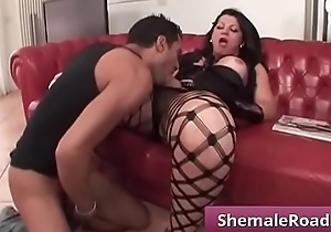 FlaviaFerraz - Horny shemale sucking and fucking stiff dick