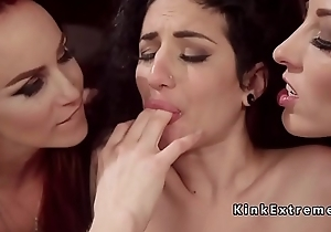 Lesbian group anal strap on fucking