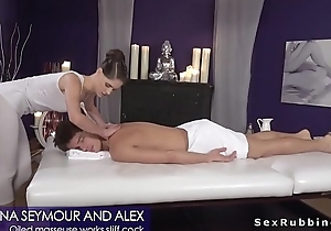 Oiled masseuse deep throat and bonks