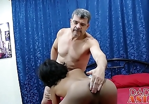 Oriental twink slut Russel bends over and takes hard